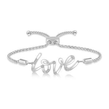 "Diamond ""Love"" Bolo Bracelet"