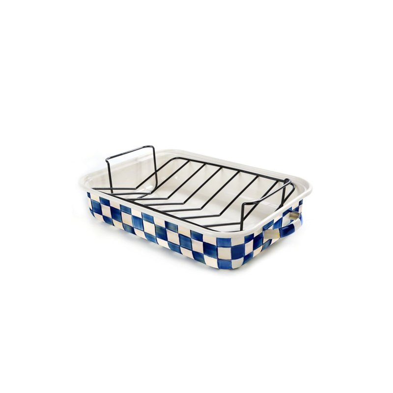MacKenzie-Childs Royal Check Roasting Pan with Rack
