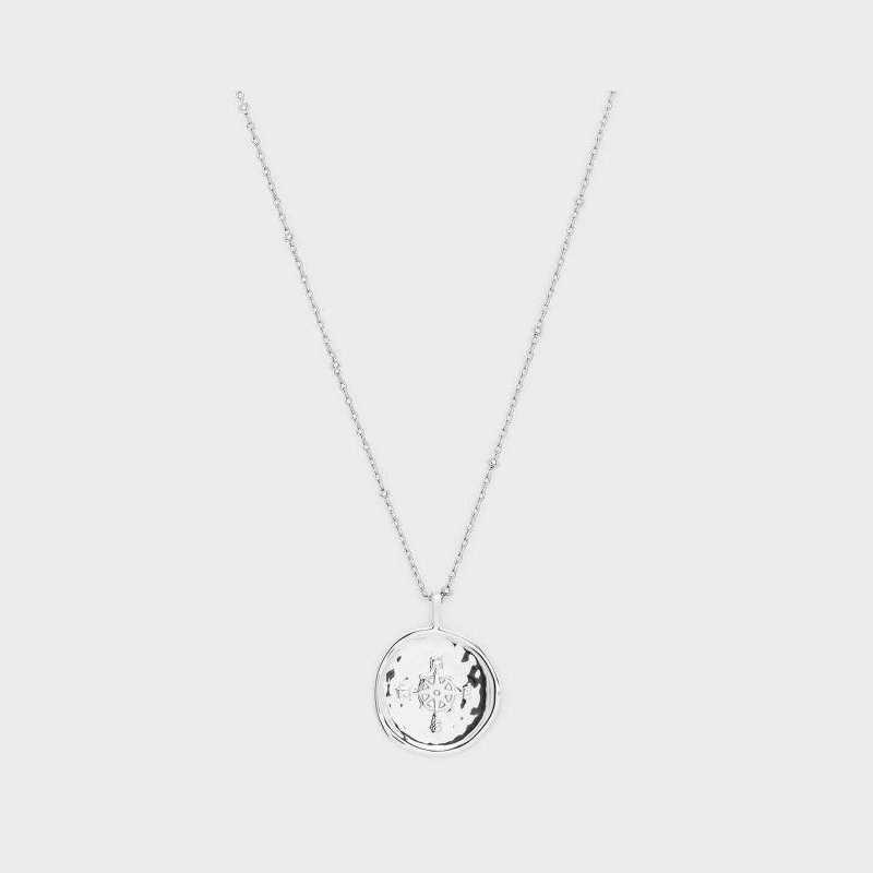 Gorjana Compass Coin Necklace in Silver