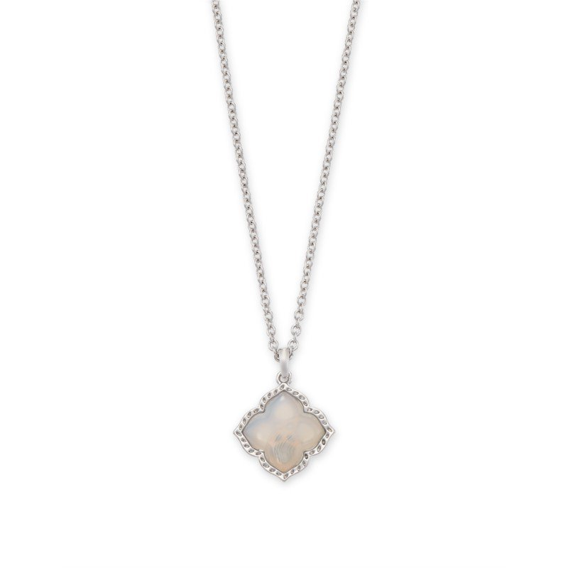 Kendra Scott Mallory Pendant in Gray Banded Agate
