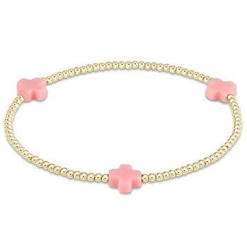 Signature Cross Pattern Bracelet - Pink