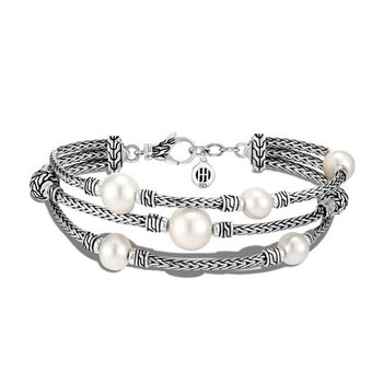 Classic Chain Triple Row Bracelet with Freshwater Pearls