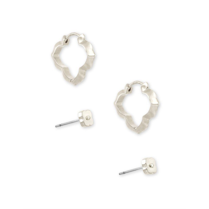 Kendra Scott Abbie Stud & Huggie Earring Set in Silver