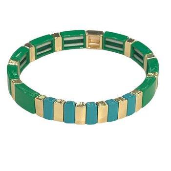 High Tide Tile Bracelet-Green/Turquoise