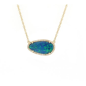 Opal Doublet & Diamond Necklace