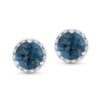 London Blue Topaz & Diamond Studs