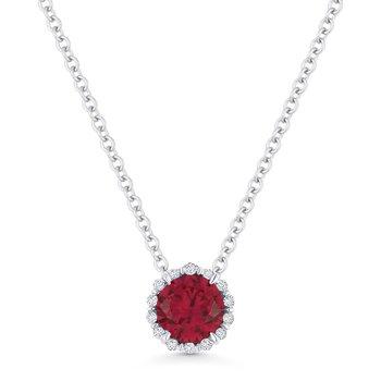 Ruby & Diamond Halo Pendant