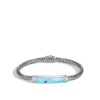Classic Chain Station Bracelet with Turquoise and Diamond