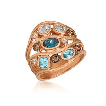 14K Strawberry Gold Multi Shape Blue Topaz & Diamond Ring.