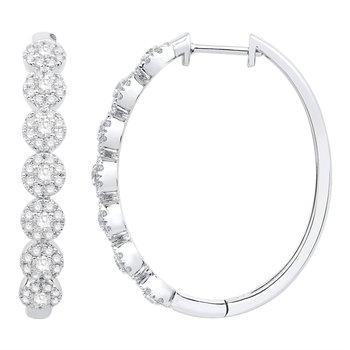 Diamond Halo Hoop Earrings