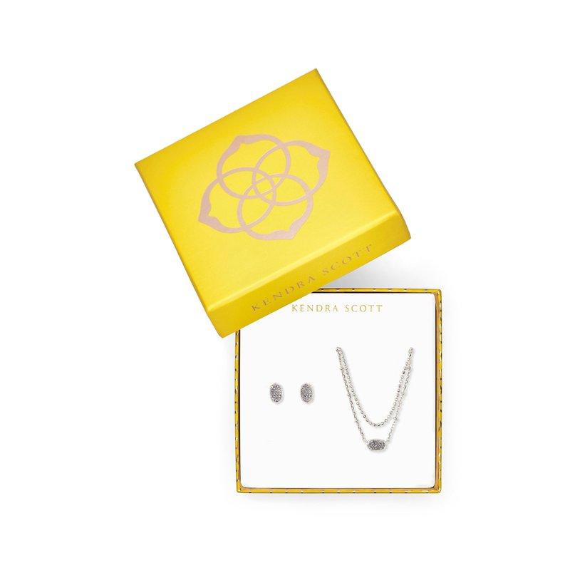 Kendra Scott Emilie Gift Set In Platinum Drusy