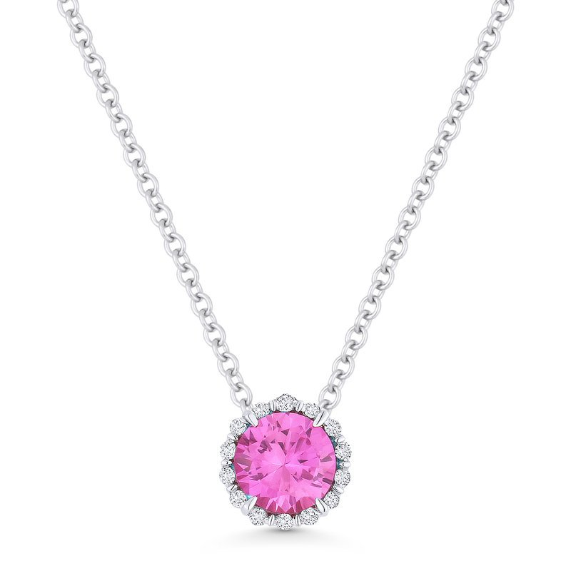 Kelley Collection  Pink Sapphire & Diamond Halo Pendant