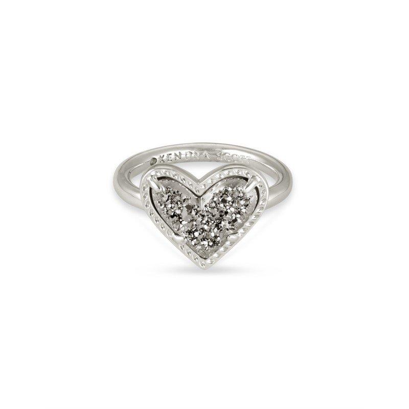 Kendra Scott Ari Heart in Platinum Drusy