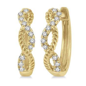 Twisted Rope & Diamond Huggie Earrings