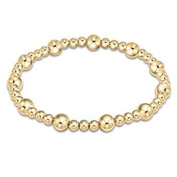 Classic Sincerity Pattern 6mm Bead Bracelet - Gold