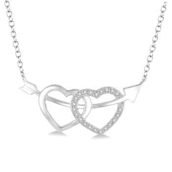 Double Heart Diamond Necklace