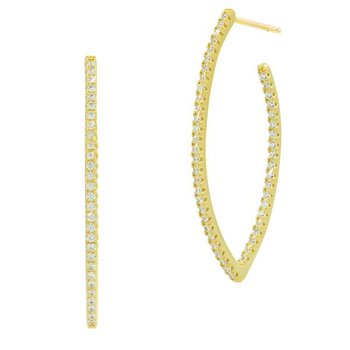 All Over Pointer Oval Pave Hoop Earring