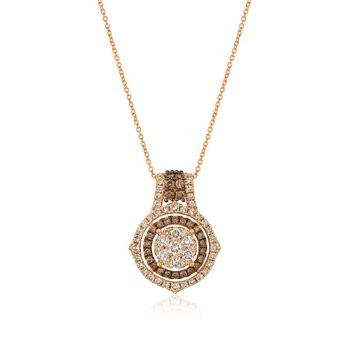 14K Strawberry Gold® Nude &  Chocolate Diamond® Pendant
