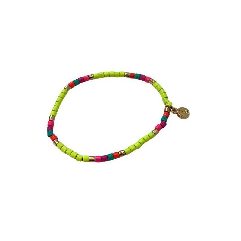 Caryn Lawn Seashore Tube Bracelet - Neon Yellow Multi