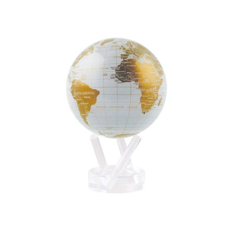 """Mova Globes 4.5"""" White & Gold Globe"""