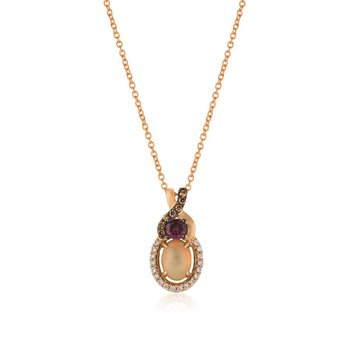 14K Strawberry Gold® Neopolitan Opal™ & Raspberry Rhodolite® Pendant
