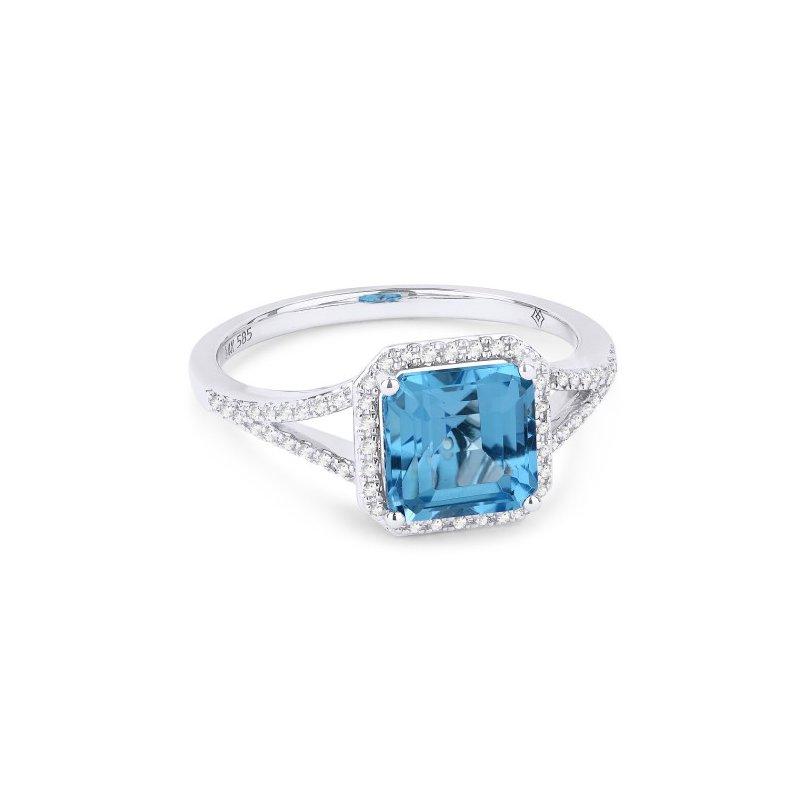 Kelley Collection  Swiss Blue Topaz & Diamond Ring