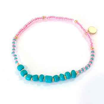 Surfside Beaded Bracelet - Pink/Turquoise