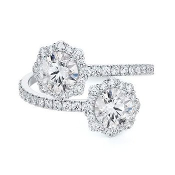 Center Of My Universe® Floral Diamond Halo Two-Stone Ring