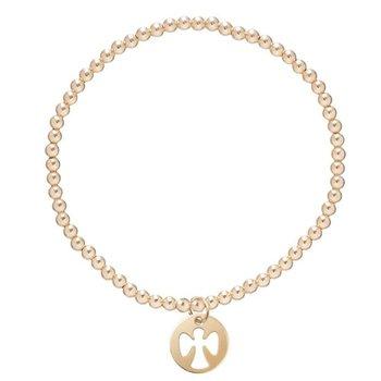 Classic Gold 2mm Bead Bracelet - Guardian Angel Small Charm
