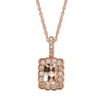 Morganite & Diamond Pendant