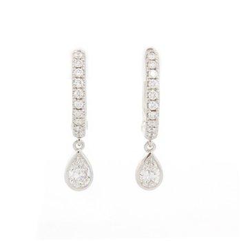 Pave & Pear Huggie Earrings