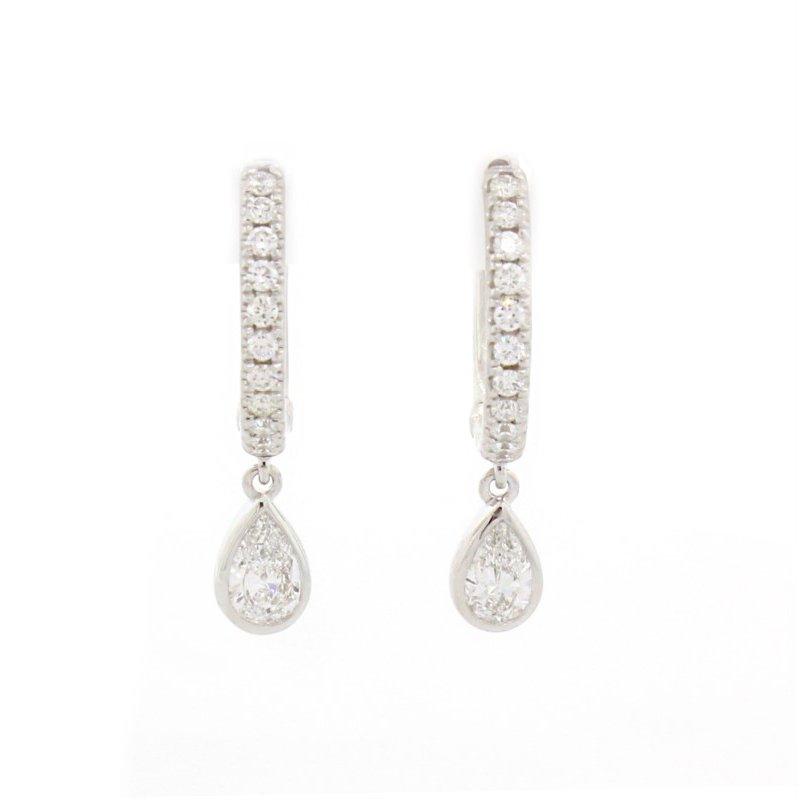 Natalie K (M.K. Diamonds & Jewelry) Pave & Pear Huggie Earrings