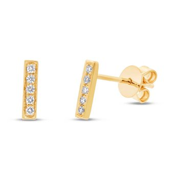 Diamond Bar Stud Earrings