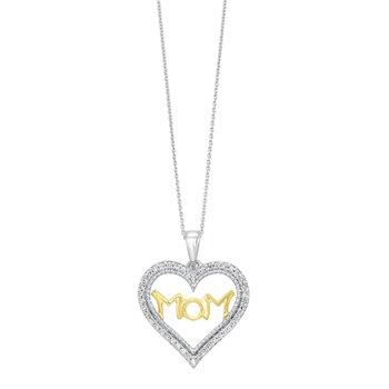 Diamond Mom Heart Pendant