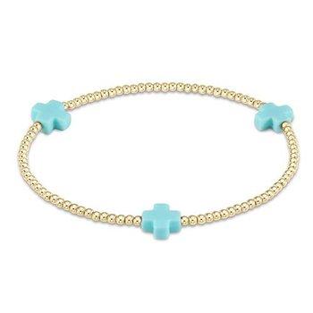 Signature Cross Pattern Bead Bracelet - Turquoise
