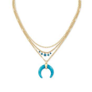 Gemma Triple Stand Necklace in Teal Labradorite