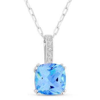 Swiss Blue Topaz & Diamond Pendant