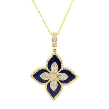 Lapis & Diamond Flower Pendant