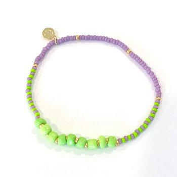 Surfside Beaded Bracelet - Lavender & Lime