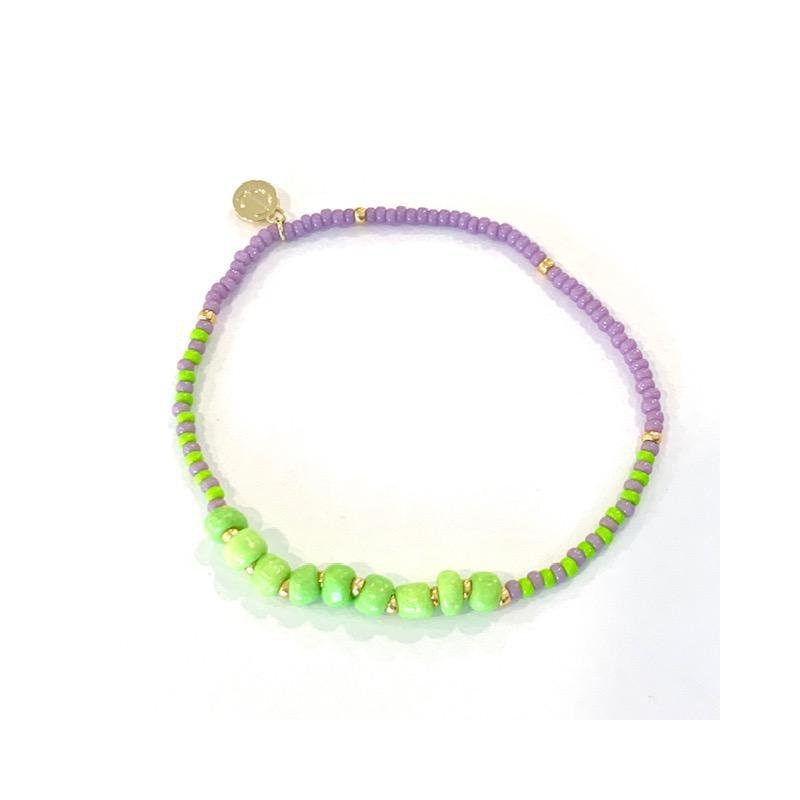 Caryn Lawn Surfside Beaded Bracelet - Lavender & Lime