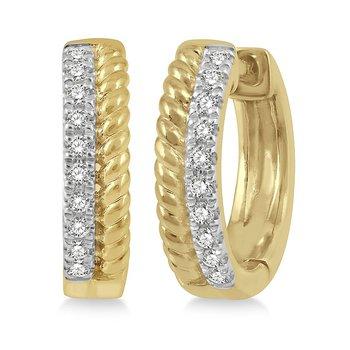 Diamond Rope Huggie Earrings