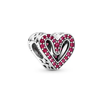 Sparkling Ruby Red Freehand Heart Charm