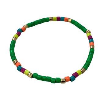 Seashore Tube Bracelet - Neon Kelly Green Multi
