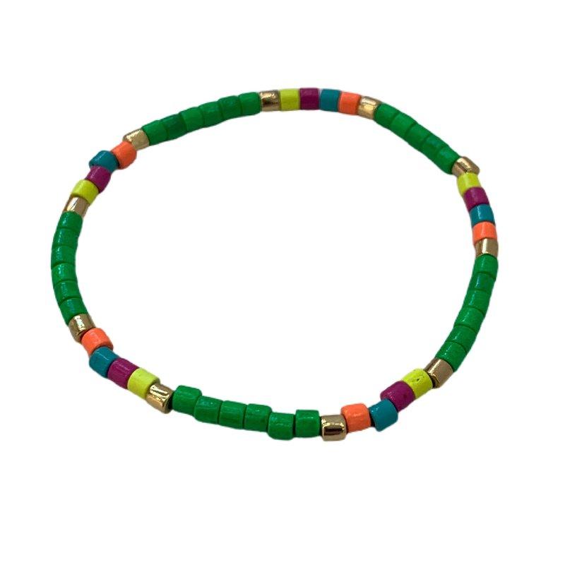 Caryn Lawn Seashore Tube Bracelet - Neon Kelly Green Multi