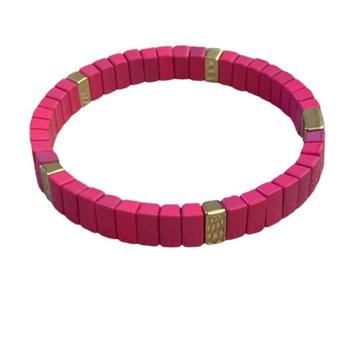 Tile Mini Bar Bracelet - Hot Pink