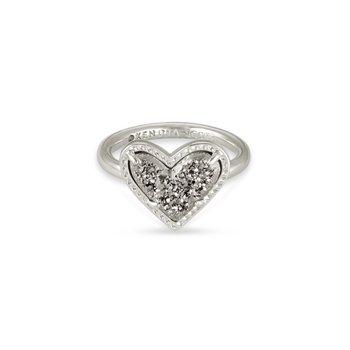 Ari Heart in Platinum Drusy