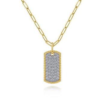 Diamond Pave Dog Tag Necklace