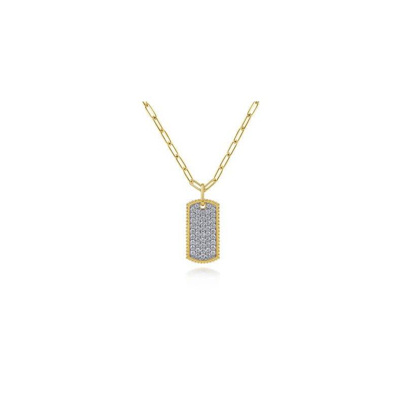 Gabriel NY Fine Jewelry Diamond Pave Dog Tag Necklace