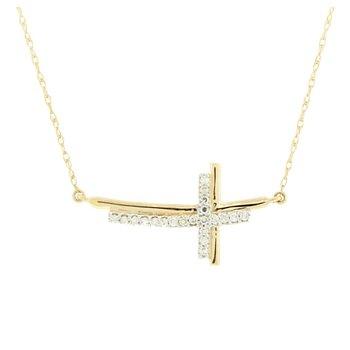 Diamond Sideway Cross Pendant