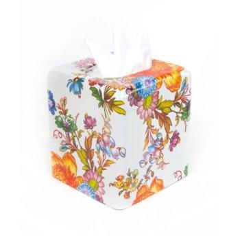Flower Market Boutique Tissue Box Cover in White